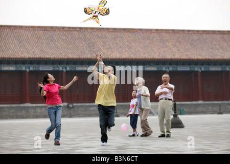 Menschen aus verschiedenen Ländern Zusammensein in der verbotenen Stadt, Peking, china - Stockfoto