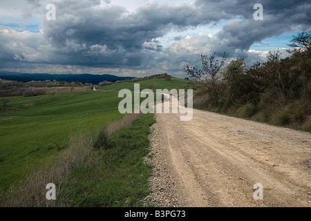 Straße zwischen Cinigiano und Monticello Amiata in der Nähe von Porrona, Monte Amiata und Umgebung, Toskana, Italien - Stockfoto