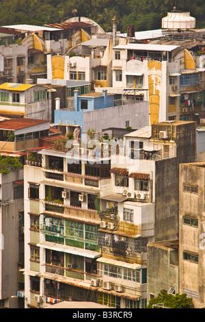 MACAU CHINA dicht besiedelte Stadtlandschaft von Macau - Stockfoto