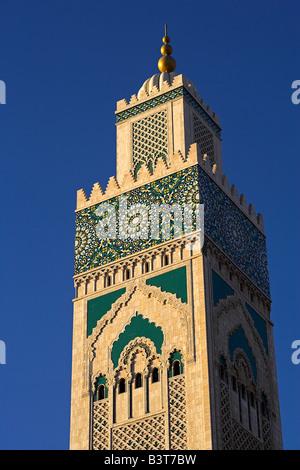 Marokko, Maghreb, Casablanca. Der Hassan II Moschee ist die drittgrößte in der Welt nach Mekka und Medina und dem - Stockfoto