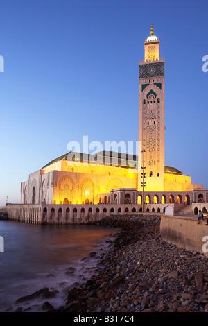 Marokko, Casablanca. Der Hassan II Moschee ist die drittgrößte in der Welt nach Mekka und Medina und dem Minarett, - Stockfoto