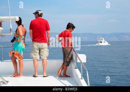 Bootsfahrt von Insel Hvar auf der Insel Brac, Kroatien, Osteuropa. Achtung: Kein MODEL-RELEASE! - Stockfoto