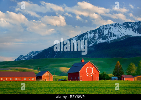Scheune mit Wallowa Mountains in der Nähe von Joseph Oregon - Stockfoto