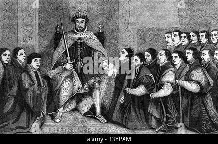 Heinrich VIII., 28.6.1491 - 28.1.1547, König von England 22.4.1509 - 28.1.1547, präsentiert eine Charta zum Friseur Chirurgen Company, London, 1541, Kupferstich von Bernard Baron, 1736, nach dem Gemälde von Hans Holbein der Jüngere,, Artist's Urheberrecht nicht geklärt zu werden. Stockfoto