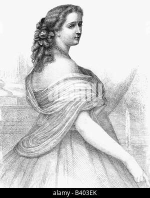 Eugenie, 5.5.1826 - 11.7.1920, Kaiserin Gefährtin von Frankreich 30.1.1853 - 4.9.1870, halbe Länge, Stahlstich von - Stockfoto