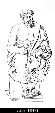 Platon, 427 - 347 v. Chr., griechische Philosoph, volle Länge, Zeichnung nach Skulptur von Aristokles, ca. 19. Jahrhundert, - Stockfoto