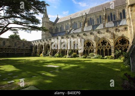 Kathedrale von Salisbury aus den Kreuzgängen, Wiltshire, England - Stockfoto