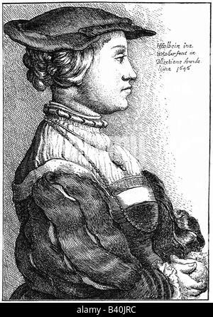 Anne von Cleves, 22.9.1515 - 16.7.1557, Königin Consort von England 6.1.1540 - 9.7.1540, halbe Länge, Radierung durch Wenceslaus Hollar, 1646, nach Hans Holbein dem Jüngeren, ca. 1540, Stockfoto