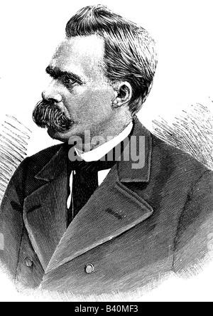 Nietzsche, Friedrich, 15.10.1844 - 25.8.1900, deutscher Philosoph, Porträt, anonyme Gravur, 19. Jahrhundert - Stockfoto