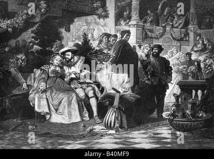 Heinrich VIII., 28.6.1491 - 28.1.1547, König von England seit 1509, mit Anne Boleyn, Holzstich, 19. Jahrhundert, nach dem Gemälde von Carl von Piloty, historische Gemälde des Künstlers Copyright wurde nicht gelöscht Stockfoto