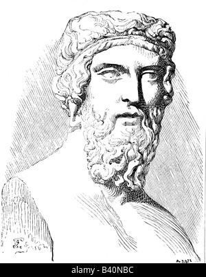 Platon, 427 v. Chr. - 347 v. Chr., griechische Philosoph, Porträt, Gravur nach alter Büste, 19. Jahrhundert, - Stockfoto