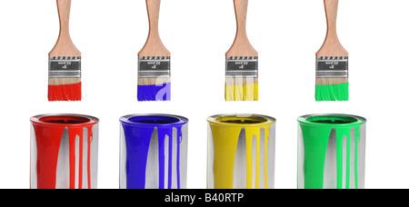 Verschiedene Farben, Pinsel und Farbdosen ausgeschnitten isoliert auf weißem Hintergrund - Stockfoto