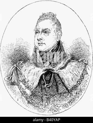 William IV., 21.8.1765 - 20.6.1837, König von Großbritannien 26.6.1830 - 20.6.1837, Porträt, Holzgravur, 19. Jahrhundert, - Stockfoto