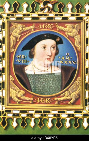 Heinrich VIII., 28.6.1491 - 28.1.1547, König von England seit 1509, Porträt, Druck nach Miniatur, 1526, Stockfoto