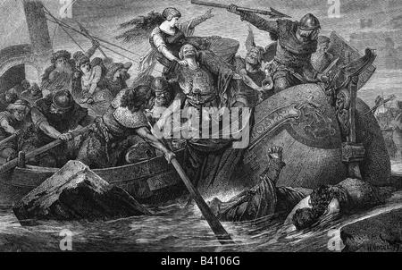 Mittelalter, Wikinger, Schlacht, Geschichte der Malerei, Gravur, 19. Jahrhundert, Viking, Norman, Normannen, Aggression, - Stockfoto
