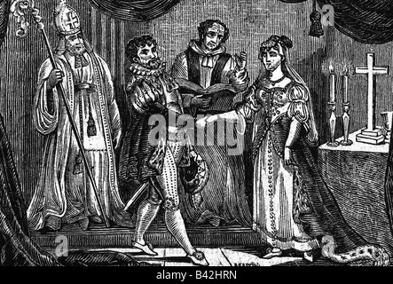 Heinrich VIII., 28.6.1491 - 28.1.1547, König von England 22.4.1509 - 28.1.1547, die Ehe mit Anne Boleyn, London, 25.1.1533, Kupferstich, Überprüfung der Fox's Buch der Märtyrer' von William Andrews, 1826, Artist's Urheberrecht nicht gelöscht werden Stockfoto