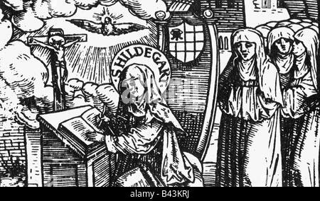 Hildegard von Bingen, ca. 1098 - 19.9.1179, Deutsche Heiliger, Nonne, Mystiker, Holzschnitt, 1524, Detail, - Stockfoto
