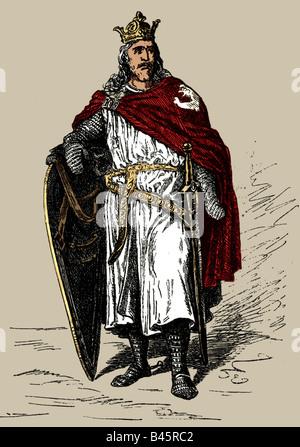 Otto I. 'der Große', 23.11.912 - 7.5.973, Heiliger römischer Kaiser 2.2.962 - 7.5.973, volle Länge, Gravur 19. Jahrhundert, - Stockfoto