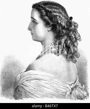 Eugenie, 5.5.1826 - 11.7.1920, Kaiserin Gefährtin von Frankreich 30.1.1853 - 4.9.1870, halbe Länge, Holzstich nach - Stockfoto