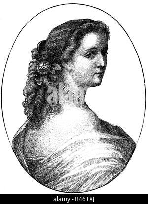 Eugenie, 5.5.1826 - 11.7.1920, Empress Consort von France 30.1.185,00 - 4.9.1870, halbe Länge, Holzgravur nach Gravur - Stockfoto