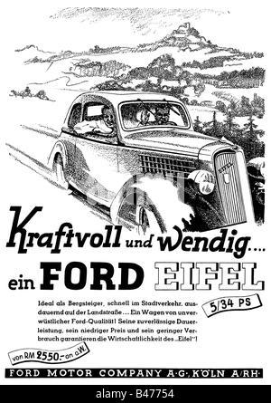 "Werbung, Autos, Ford ""Eifel"", Ford Motor Company, Köln, Anzeige, 'Atlantis', November 1936, Additional-Rights-Spiel - Stockfoto"