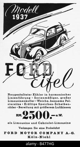 "Werbung, Autos, Ford ""Eifel"", Ford Motor Company, Köln, Anzeige, 'Atlantis', April 1937, Additional-Rights-Spiel - Stockfoto"