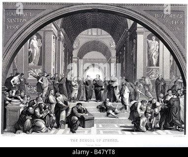"""Bildende Kunst, Raphael (1483 - 1520), """"Die Schule von Athen"""", Rom, 1512, Stahlgravur von Albert Henry Payne, 19. - Stockfoto"""