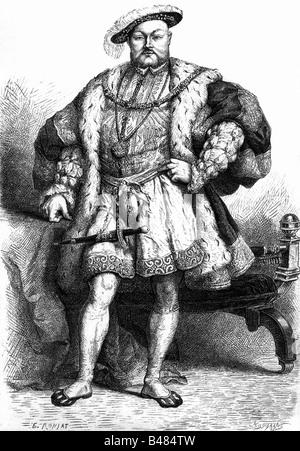 Heinrich VIII., 28.6.1491 - 28.1.1547, König von England seit 1509, volle Länge, Kupferstich von E.Ronjat, nach zeitgenössischen Malerei von Hans Holbein der Jüngere, Artist's Urheberrecht nicht gelöscht werden Stockfoto