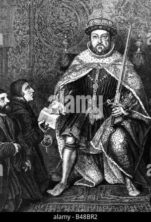 Heinrich VIII., 28.6.1491 - 28.1.1547, König von England, volle Länge, mit Schwert, Gravur nach dem Lackieren, Artist's Urheberrecht nicht gelöscht werden Stockfoto