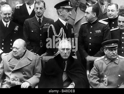 Veranstaltungen, Zweiten Weltkrieg/WWII, Tagungen, Konferenz von Jalta, 4.2.1945 - 11.2.1945, Winston Churchill, - Stockfoto