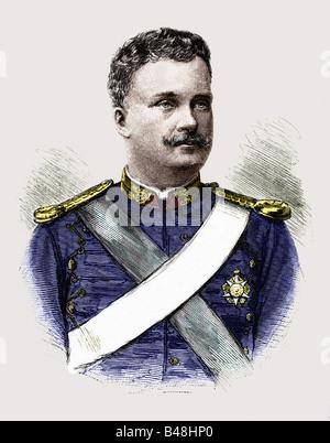 Carlos I., 28.9.1863 - 1.2.1908, König von Portugal 19.10.1889 - 1.2.1908, Porträt, Gravur circa. Im Jahre 1895, - Stockfoto
