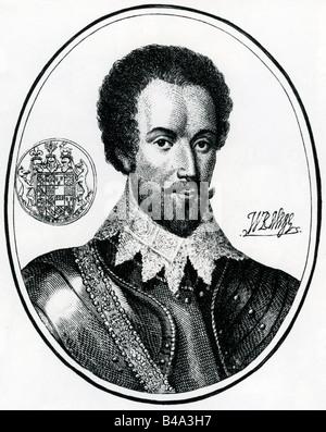 Raleigh, Walter, 1552-29. 10.1618, englischer Seefahrer und Thema / Autor, Porträt, Gravieren, circa 1590, Artist's - Stockfoto