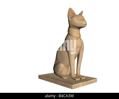 Statue des ägyptischen Gottes Bast isoliert auf weiss - Stockfoto
