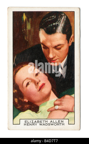 Gallaher die Zigarette Ausgabekarten in 1935 zur Veranschaulichung Film Partner Elizabeth Allen und Henry Wadsworth - Stockfoto