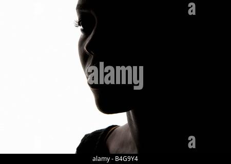 Porträt einer afroamerikanische Frau, Nahaufnahme, silhouette - Stockfoto