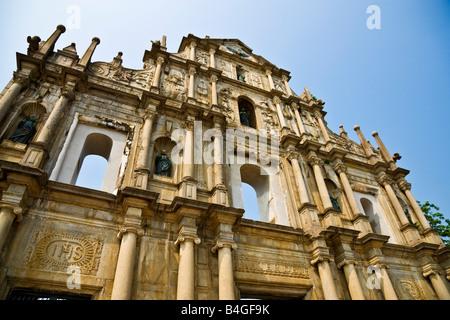 Obere Fassade von den Ruinen der St. Pauls Kirche Ruinas de Igreja de Sao Paulo Macau China JMH3331 - Stockfoto