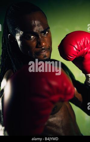 Afrikanische männlichen Boxer Stanzen - Stockfoto