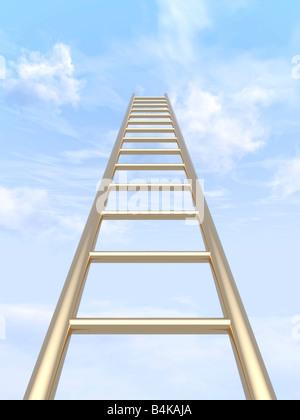 Goldene Leiter in blauen Himmel aufsteigt. - Stockfoto