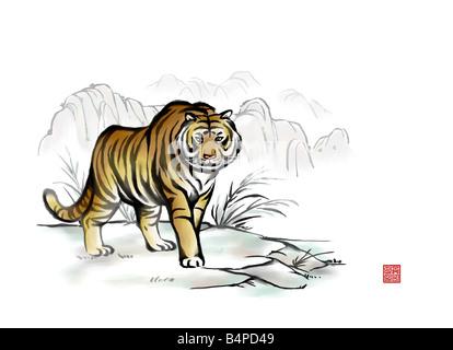 Malerei von einem wilden tiger - Stockfoto