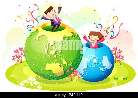 Darstellung von Geschäftsleuten in Globen - Stockfoto