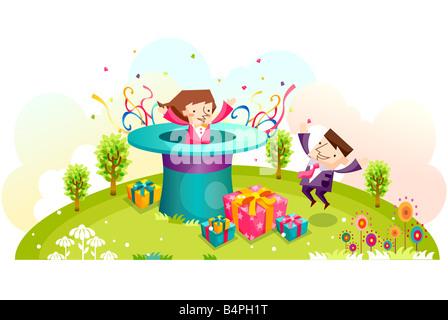 Darstellung von Geschäftsleuten feiern - Stockfoto