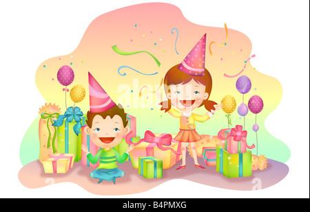 Darstellung von jungen und Mädchen tragen Partyhut und Tanz - Stockfoto