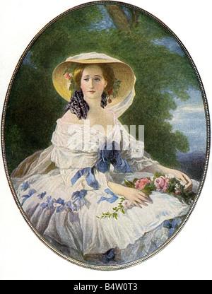 Eugenie, 5.5.1826 - 11.7.1920, Kaiserin Gefährtin von Frankreich 30.1.1853 - 4.9.1870, halbe Länge, Drucken nach - Stockfoto
