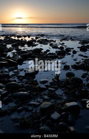 steiniger Strand bei Sonnenaufgang über die irische See Newcastle Grafschaft unten Nordirland Vereinigtes Königreich - Stockfoto