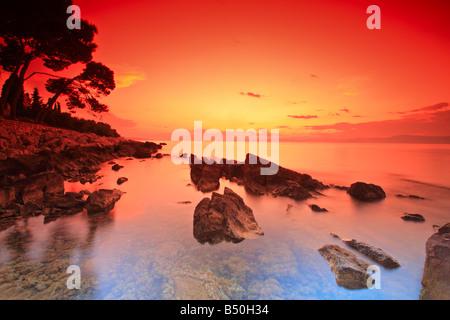 Nach Sonnenuntergang auf der Insel Brac, Kroatien - Stockfoto