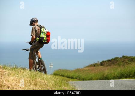 Mountain Biker Check-Karte - Stockfoto