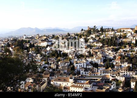 Albaycin Viertel Ansicht von der Alhambra in Granada, Spanien - Stockfoto