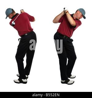 Beide seitlichen Blick auf einen männlichen Golfer nehmen eine Schaukel mit einem Golfschläger isoliert auf weißem - Stockfoto