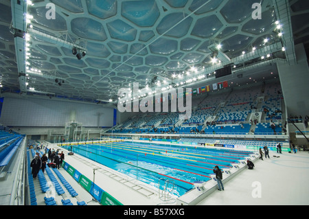 Der Water Cube National Aquatics Center Schwimmhalle im Olympiapark, Peking, China, Asien - Stockfoto