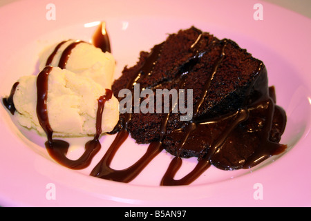 Chocolate Fudge Cake und Vanille Eis - Stockfoto